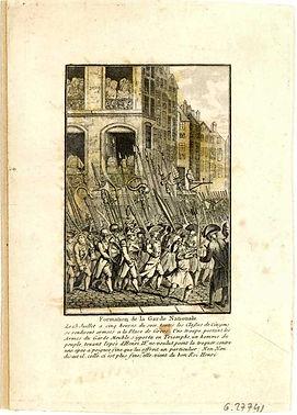 """Formation de la Garde Nationale, anonyme, Musée Carnavalet"