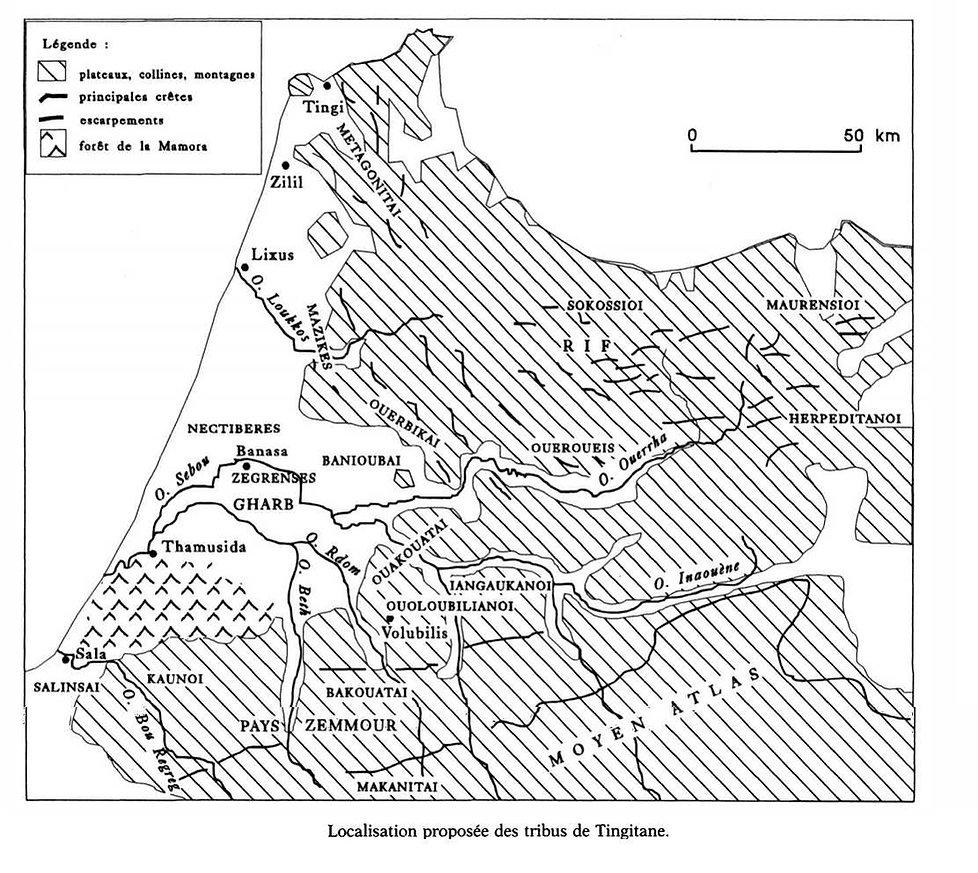 afrique du nord-carte mauretanie tingita