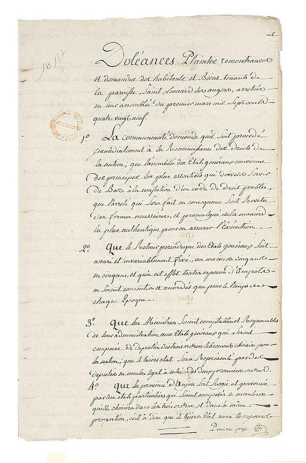 cahiers de doleances-saint leonard des a