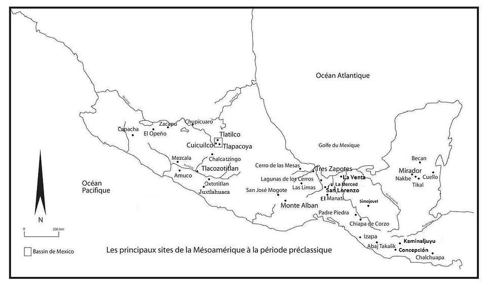 mesoamerique-carte periode pre-classique