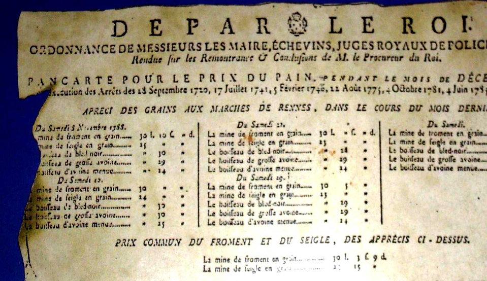 pancarte pour le prix du pain, Rennes, décembre 1788
