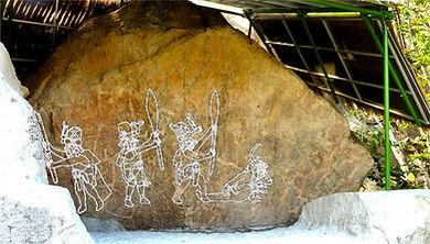 chalcatzingo-olmeques-monument 2-900-500, reconstitution gravure