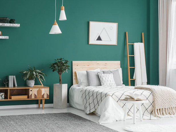 Home decor ideas in pakistan - green bedroom