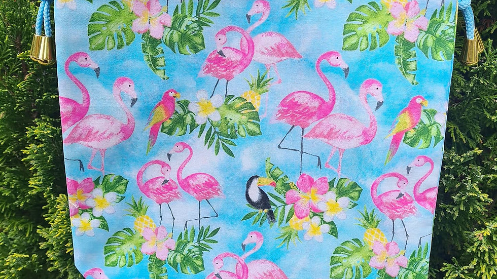 Blue tropical flamingo project bag