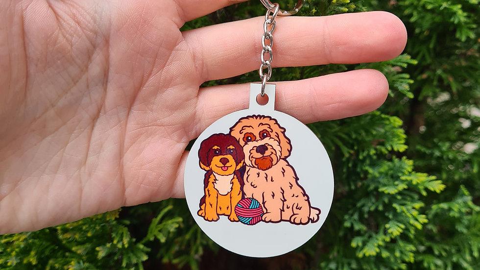 Rosie and Dexter keychain
