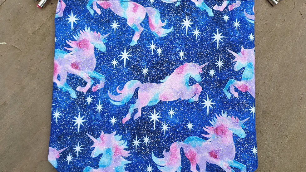 Sparkly unicorn project bag