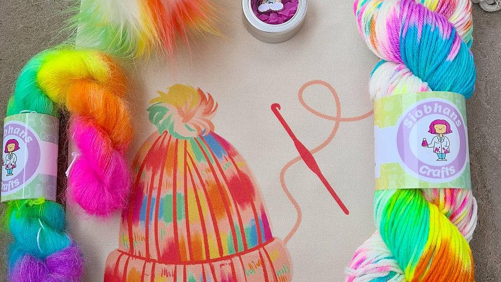 Crochet Hat Kit - Rainbow