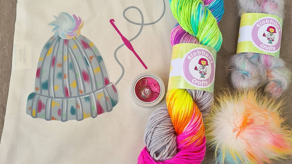 Crochet hat kit - Silver Lining