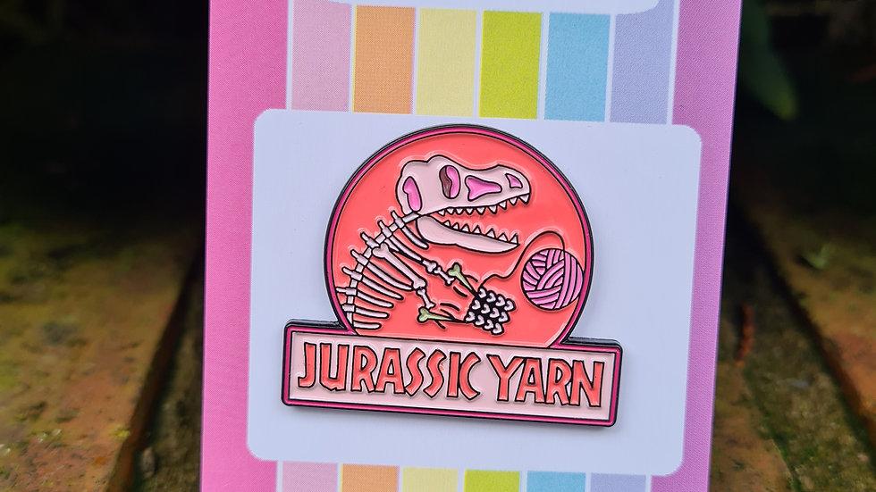 Pink Jurassic Yarn enamel pin