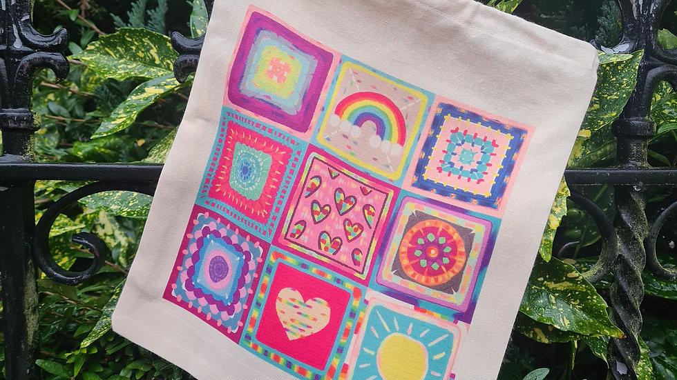 Crochet squares project bag
