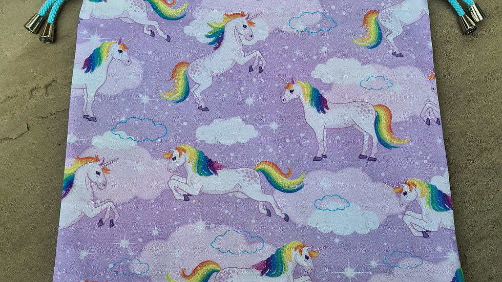 Unicorn with rainbows project bag