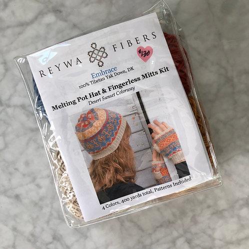 Reywa Fibers Melting Pot Hat & Fingerless Mitts Kit