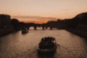Sunset Seine river honeymoon
