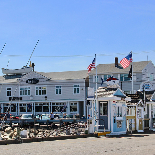 Plymouth Harbor Boathouses