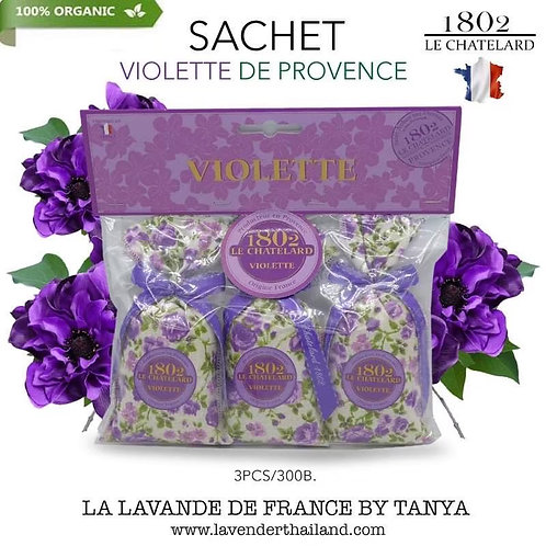 Violet 3 scented sachets with bow