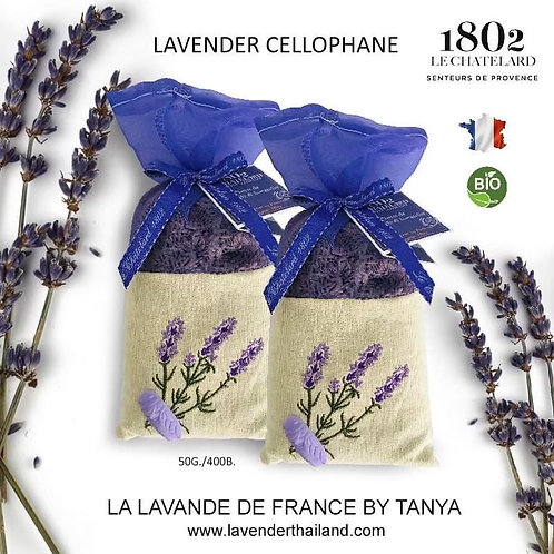 Lavender & Lavandin in Organza Embroidered linen sachet 50gr