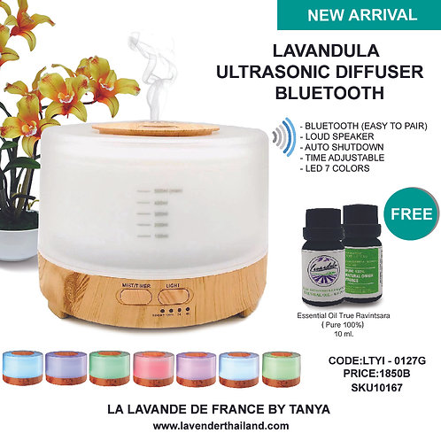 LAVANDULA ULTRASONIC BLUETOOTH  - WHITE AND WOOD 7 LED