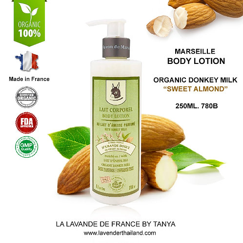 MARSEILLE - ORGANIC - DONKEY MILK LOTION - 250ML - SWEET ALMOND