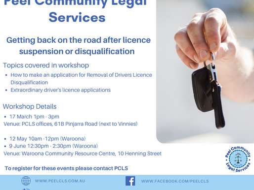Next Session Waroona 12th May -Getting Back on the road after licence suspension or disqualification
