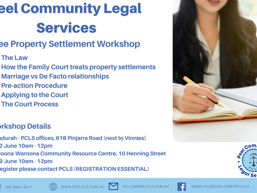 Property Settlement Information Sessions- Book now for our next Mandurah session on the 2nd June.