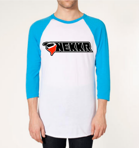 Unisex Nekkr 3/4 Sleeve Raglan White & Neon Blue
