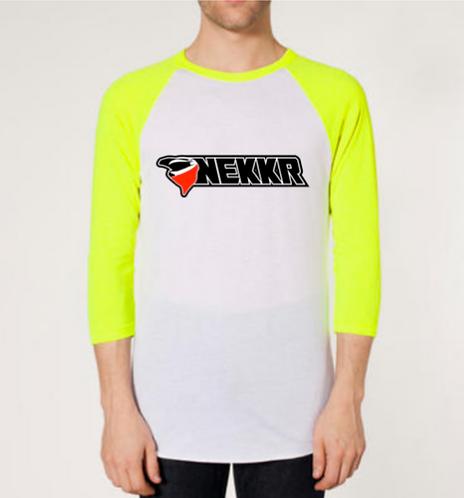 Unisex Nekkr 3/4 sleeve Raglan White & Neon Yellow