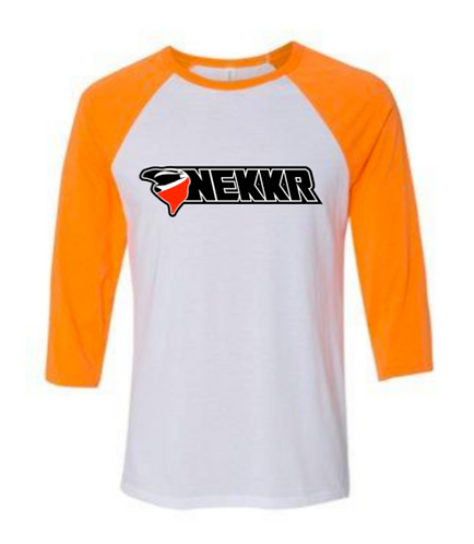 Unisex Nekkr 3/4 Sleeve Raglan White & Neon Orange