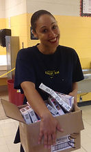 Kavi setting up at food pantry