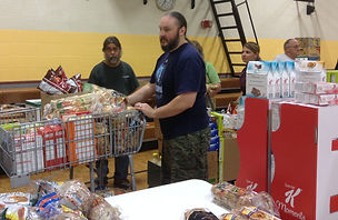 Kevin helping at food pantry