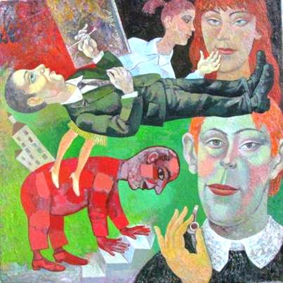 La pipa y el artista. 50x50 cm.