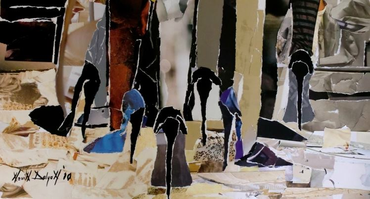 45X80 Kadın Dayanışması-1 karton üzerine kolaj   Ödül alan resim