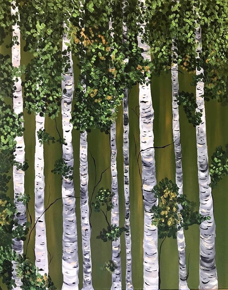 Green Tall Birches 1