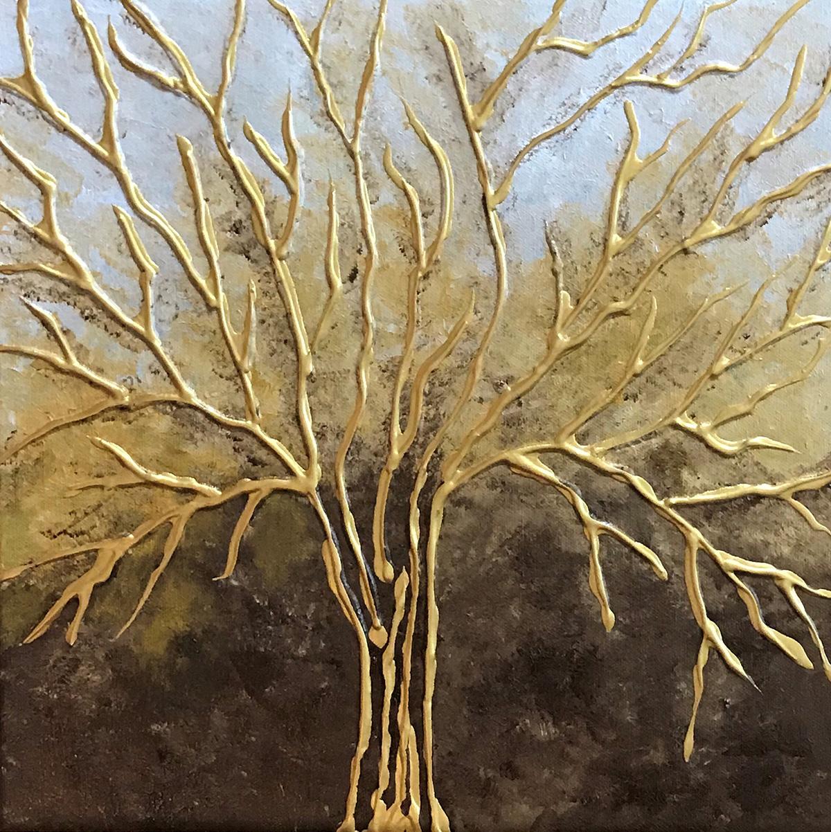 Fabiana Walsh - Golden Tree - Acrylic on