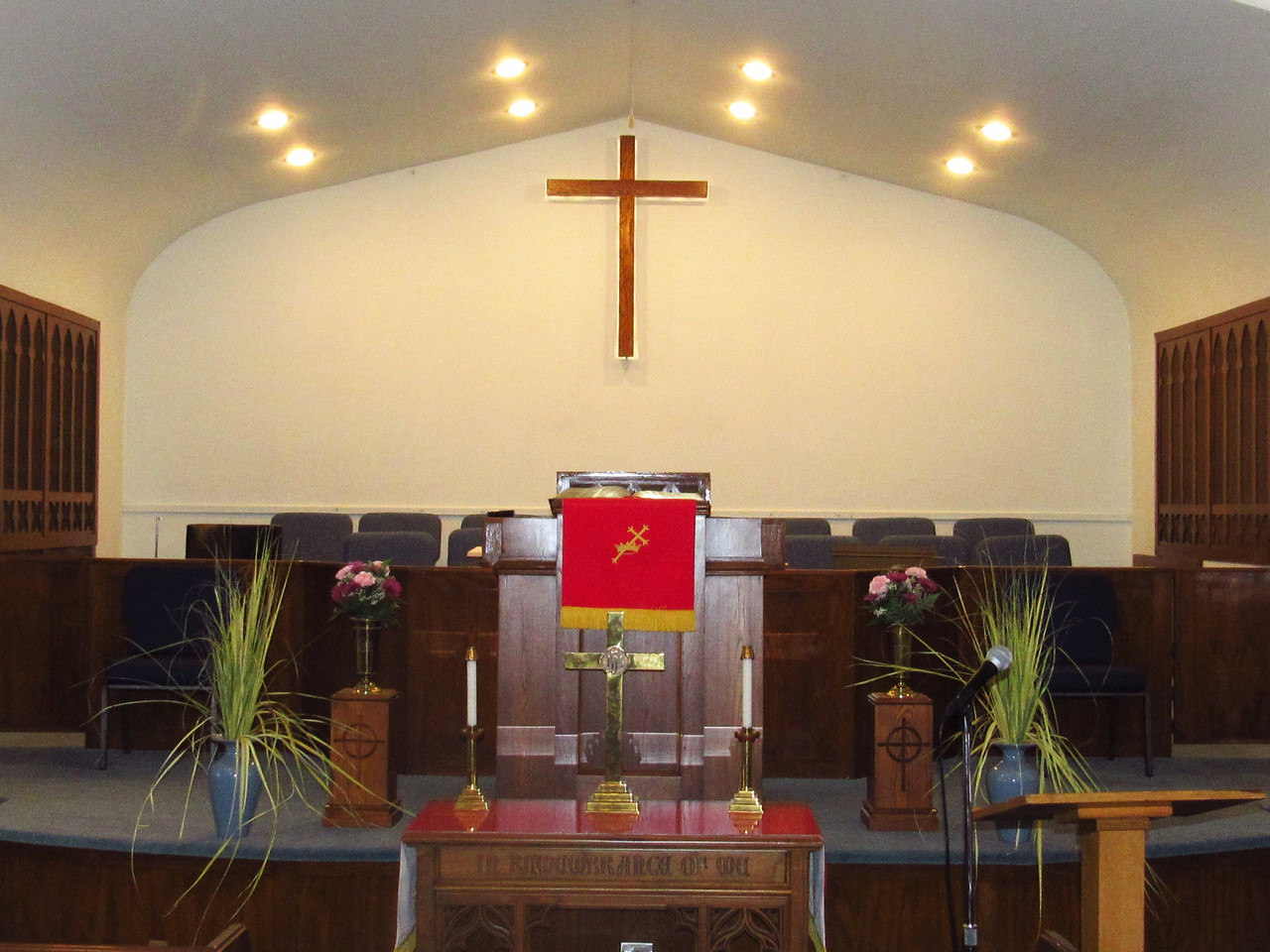 The Sanctuary, decorated for Palm Sunday.