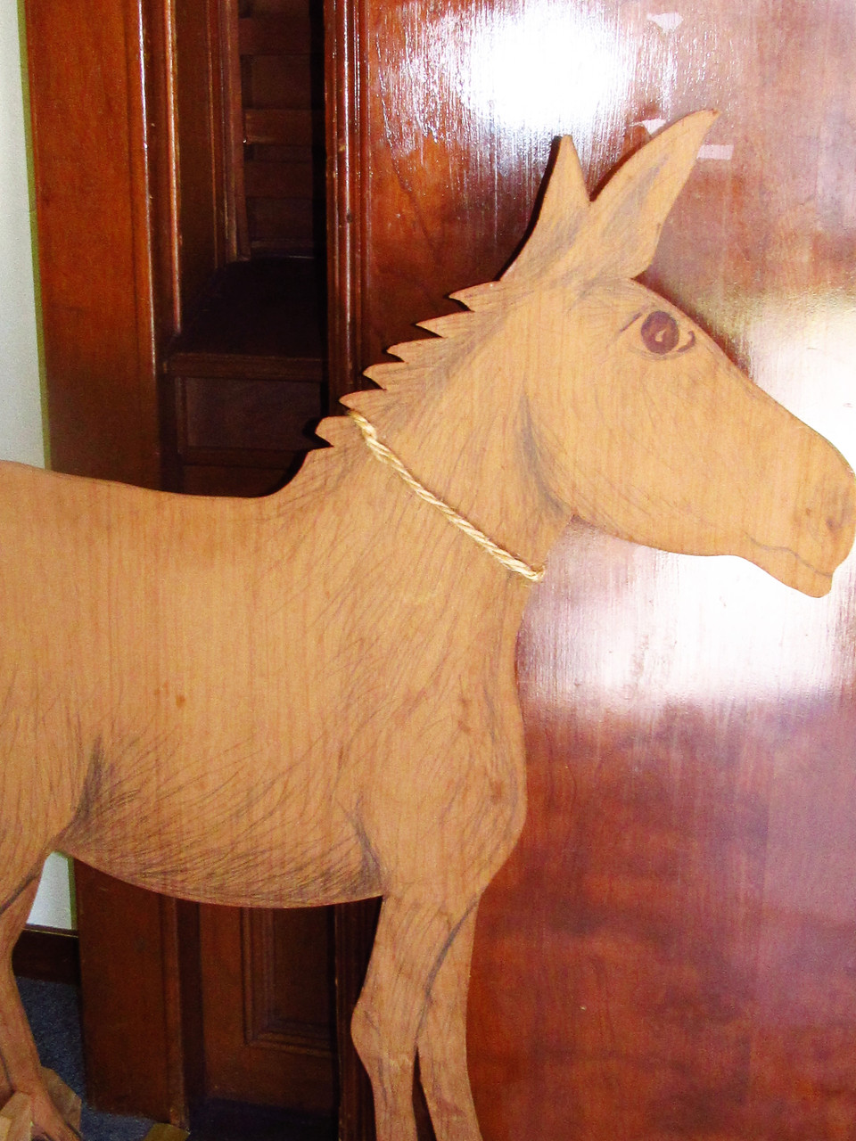 This is the donkey used by the Sunday School during their palm procession.