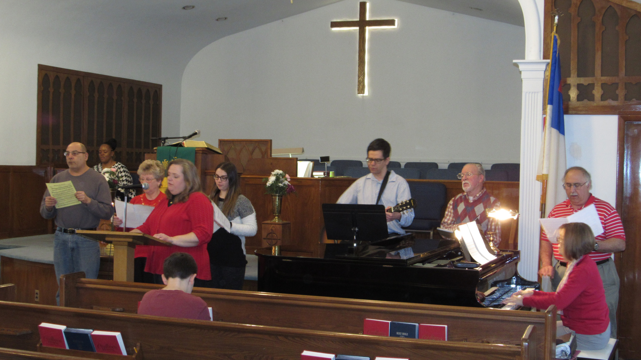 "The First Reformed Praise Team, led by Lynne Wojcik, sang ""Each Time That You Love""."