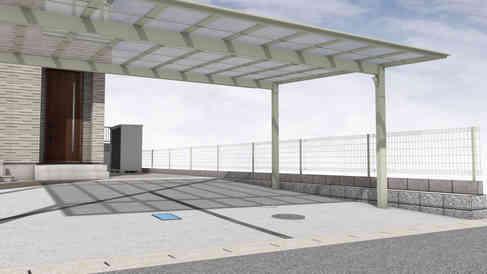 CG:駐車スペースとフェンス