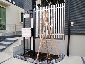 シンプルでクールテイストな建物外観のデザインにマッチしたおしゃれなエクステリア。直線を基調としたデザインにまとめ、全体のイメージを崩さないようにしています。庭側はお手入れのしやすい人工芝を敷いて、リビングから眺めた際に癒しを与えられるように植栽を配置し、格子スクリーンでプライバシー対策もばっちりです。玄関前の階段を上がると、目の前の赤い化粧砂利のアプローチが華やかさを演出してくれます。