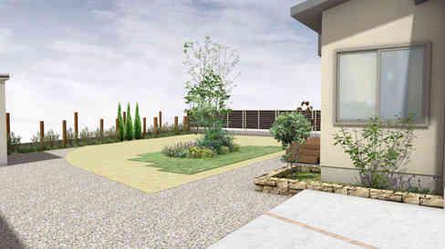 CG:シンボルツリーと芝生のお庭