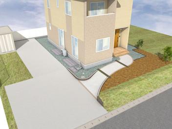 川崎町外構工事 緩やかな曲線を描いたアプローチ