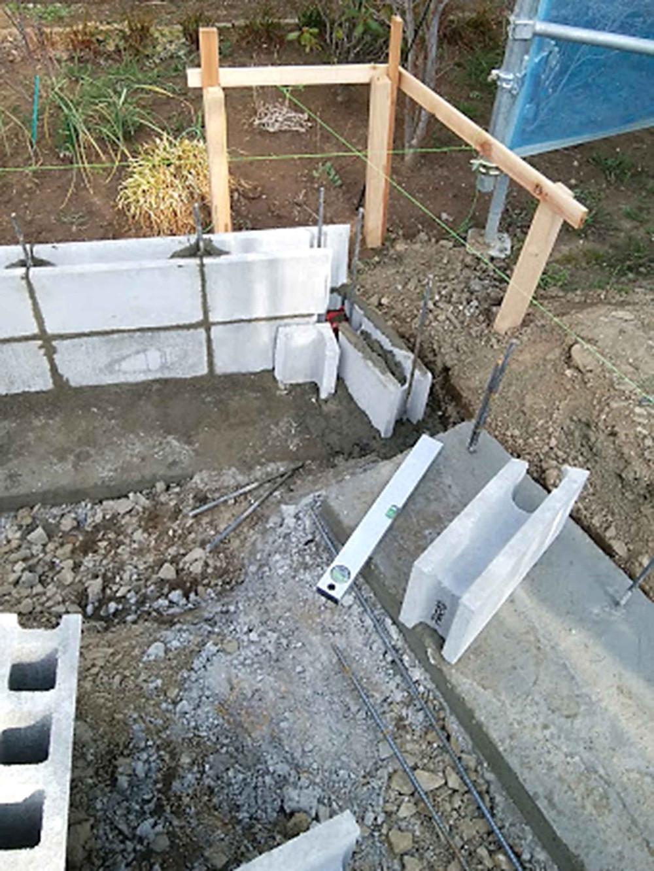 土留めコーナーコンクリートカット