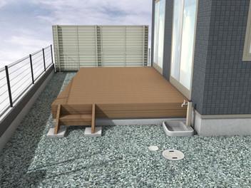 木彫樹脂デッキ・目隠しフェンス・物置を設置したリフォーム外構・1
