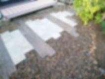 コンクリート枕木とブロックで作成したお庭のプチリフォーム写真