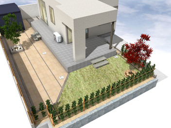 透水性平板を使用した大型テラスと天然芝(TM-9)の庭・1