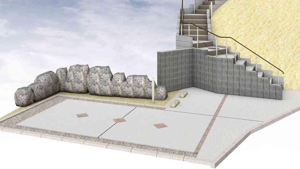 CG:擁壁ブロックとロング階段