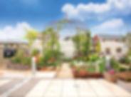 バラのガゼボ、チューリップのレンガ花壇のお庭