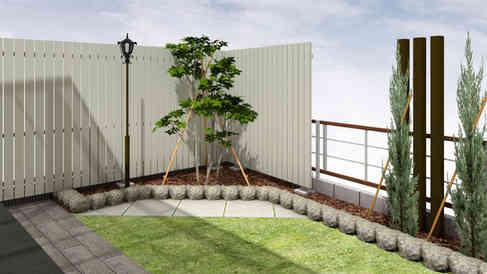 CG:植木とフェンス