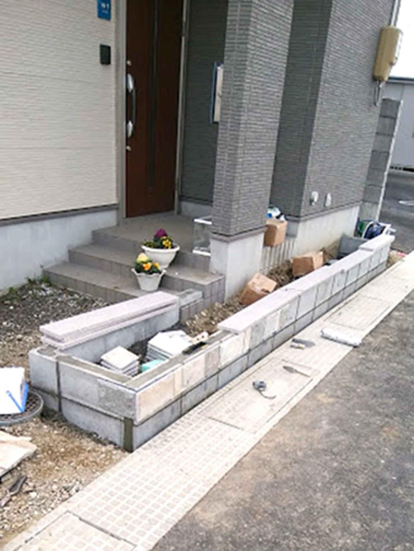 石貼り花壇工事