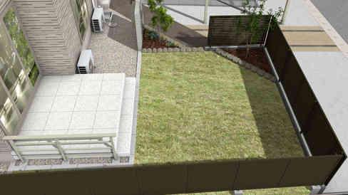 CG:タイルデッキと芝生