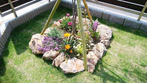 植木(ハイノキ)と花壇
